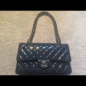 New patent leather Chanel double flap medium